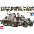 tamiya scale model 1/35 tank 35050 German 8ton Semitrack 20mm Flakvierling Sd.kfz7/1 assembly model kits modle building kits