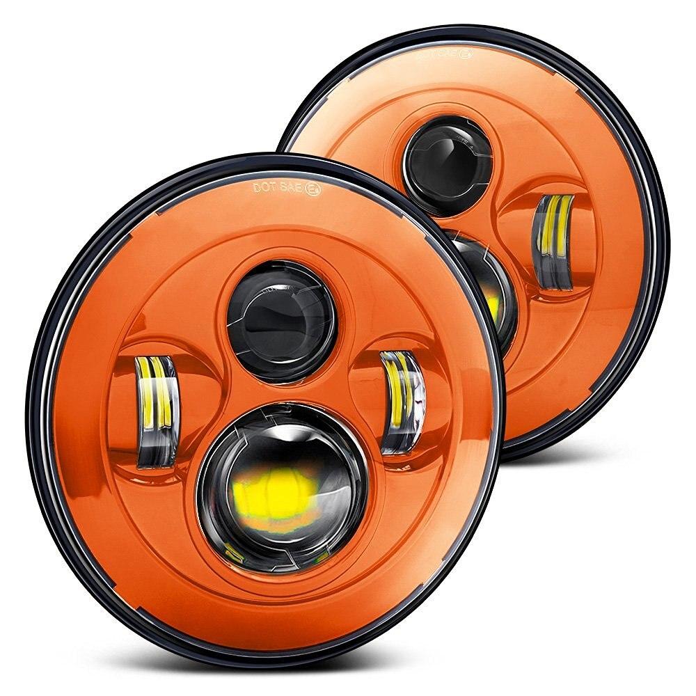 Пара 7 дюймов круглый оранжевый светодиодный фары Привет/Lo Луч для джип Вранглер JK и TJ Харлей Дэвидсон Мак Р Кенворт Петербилт