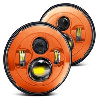 Pair 7 Inch Round Orange Led Headlights Hi Lo Beam For Jeep Wrangler Jk Tj Harley