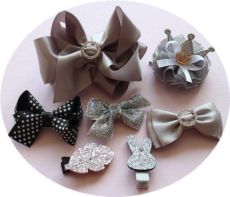 1 set bow girls kids cute bowknot hair clips pin barrette princess accessories for hair ribbon bows hairclip headwear ornaments