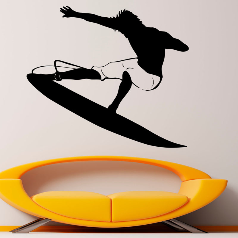 ZOOYOO Water Sports Wall Stickers Surfing Removable Vinyl Wall Decals Home Decor For Living Room Kids Room Decoration
