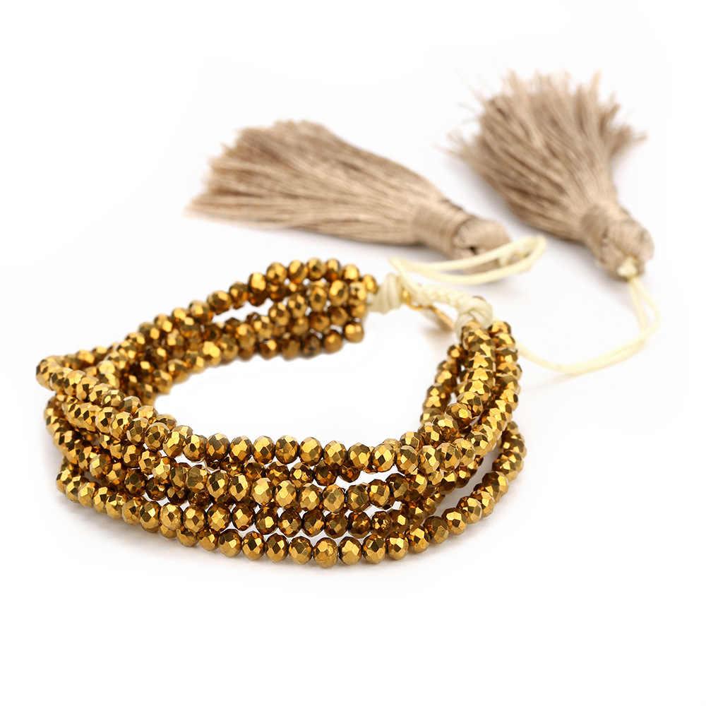 2019 جديد ميوكي مطرز أساور شرابة كريستال الذهب الأسود أساور ساحرة موضة Bohe مجوهرات الساخن بيع هدية النساء الفتيات