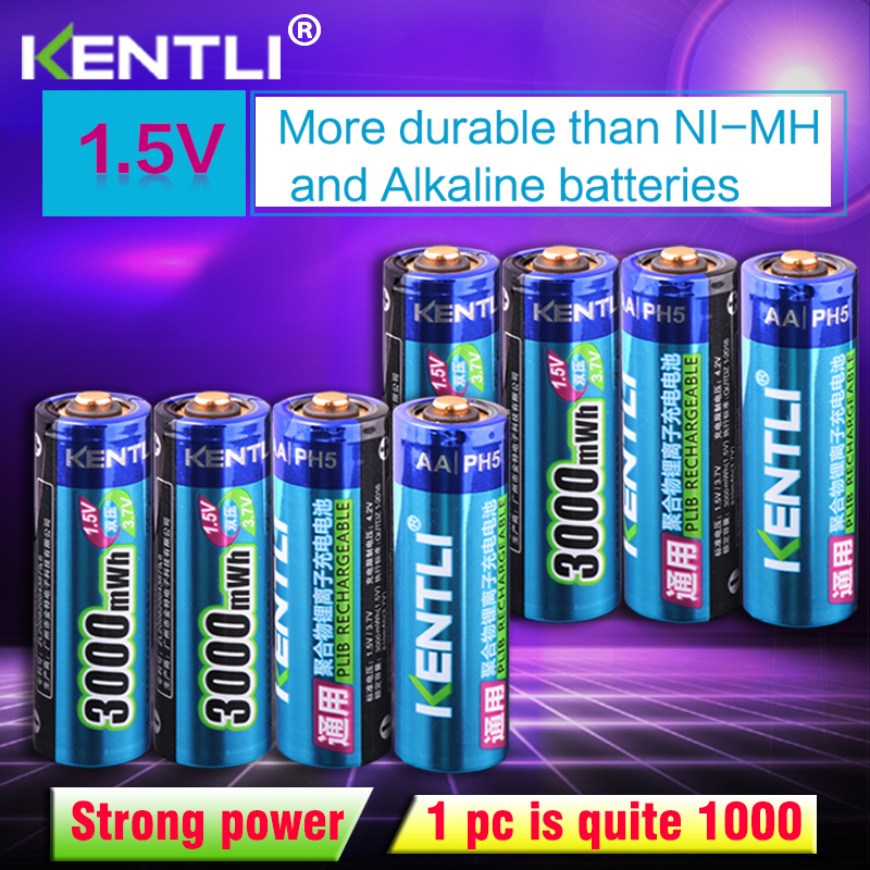 KENTLI 8 pièces tension Stable 3000mWh piles AA 1.5 V aa rechargeables batterie au lithium polymère batterie pour appareil photo ect
