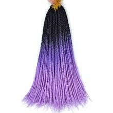 дешево✲  Вязаные косички Ombre Senegalese Twist 24Inches Наращивание синтетических плетеных волос Черный  Лучший!