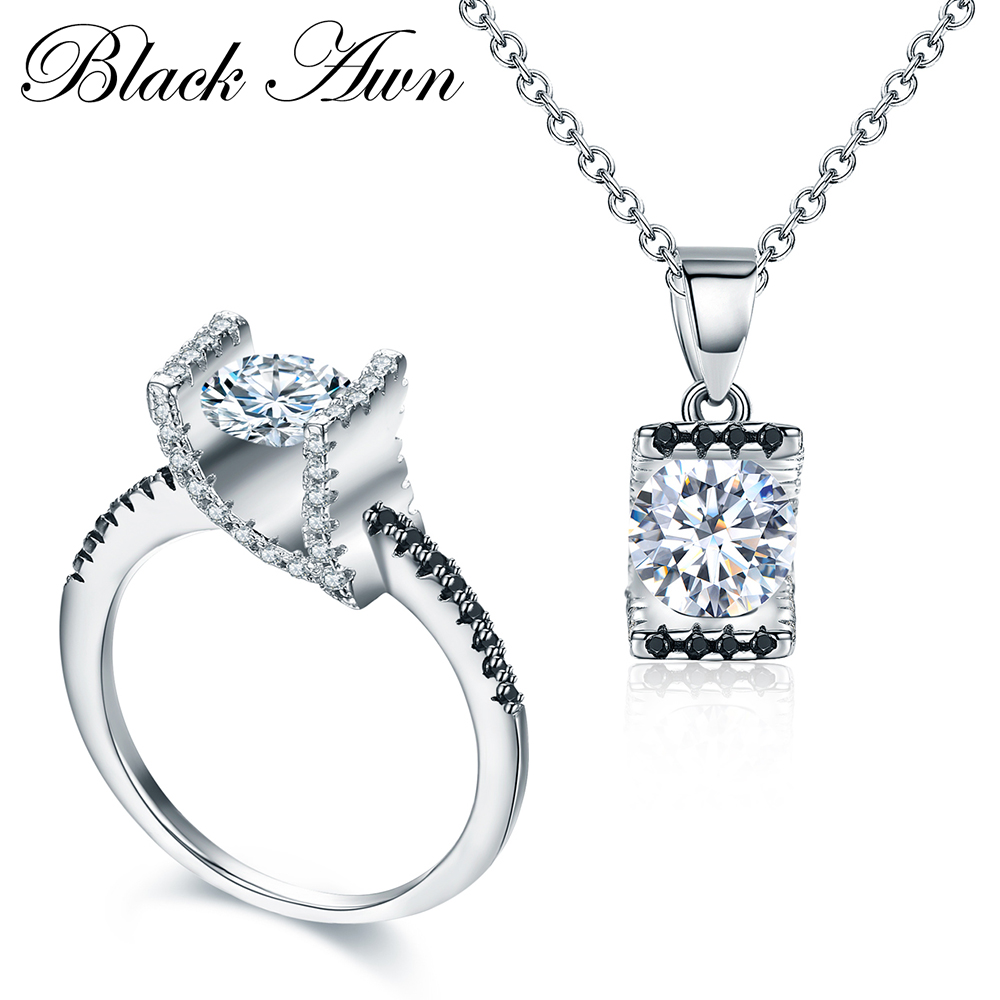 [BLACK AWN] 925 Sterling Silver Fine Jewelry Sets White Trendy Engagement Sets Ring+Necklace for Women PR014