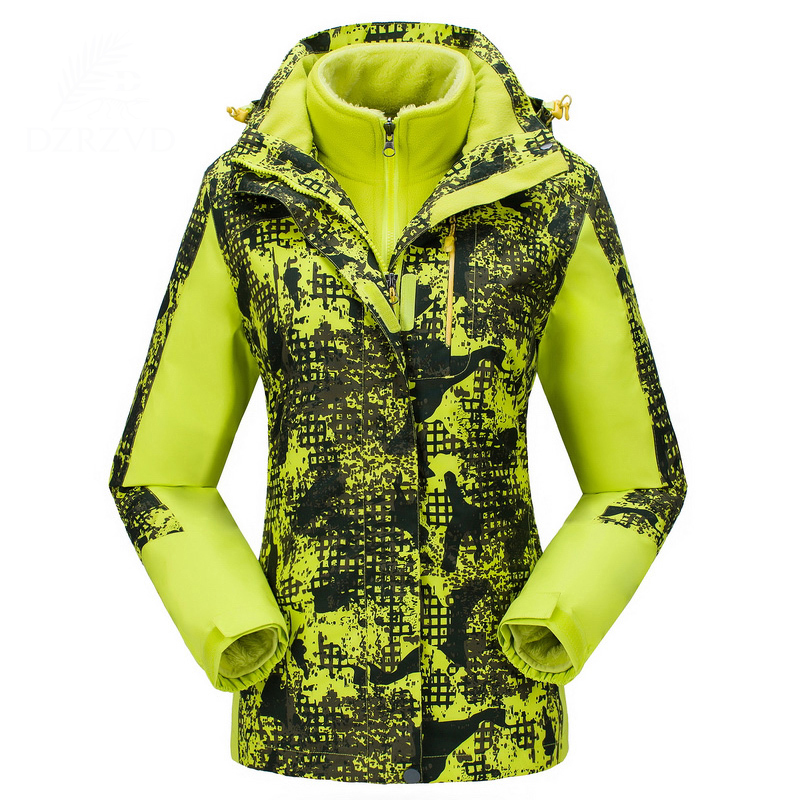 New Camo Women Winter 3in1 Hooded Thermal Fleece Lining Outdoor Windproof Waterproof Jacket Ladies Climbing Camping Hiking Coat 3 in 1 outdoor jacket windproof waterproof coat women sport jackets hiking camping winter thermal fleece jacket ski clothing