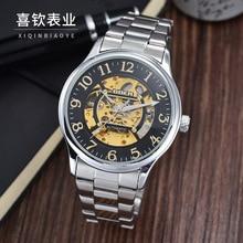GOER марка мужская цифровые часы механические часы Полностью автоматическая Нержавеющей Стали Спортивные водонепроницаемые Световой Скелет Мужчины наручные часы