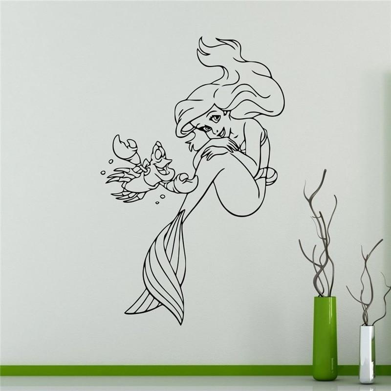 Princess Ariel Vinyl Decal Little Mermaid Wall Sticker Cartoons Home  Interior Childrenu0027s Nursery Room Decor #