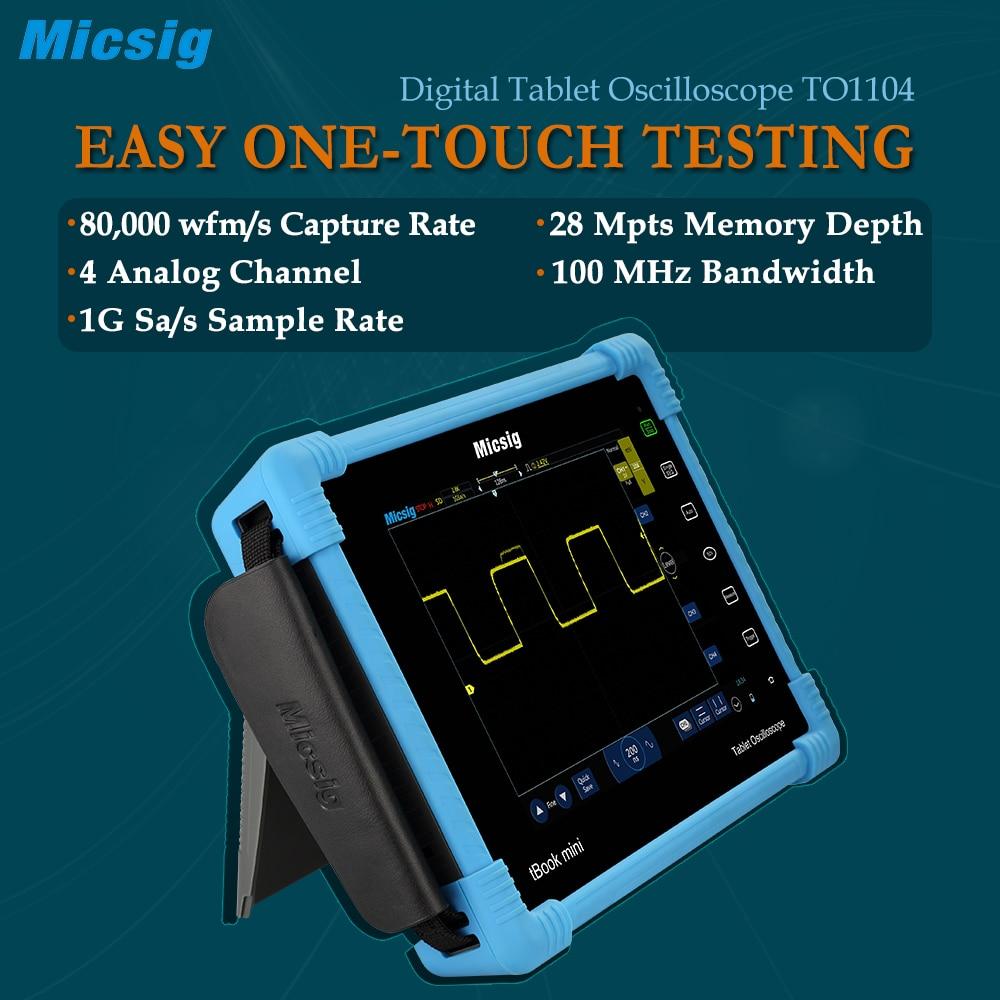 TO1104 Tabuleta Digital Oscilloscope 100MHz 4CH 28Mpts osciloscópios vendas touchscreen digital-osciloscópio de diagnóstico Automotivo