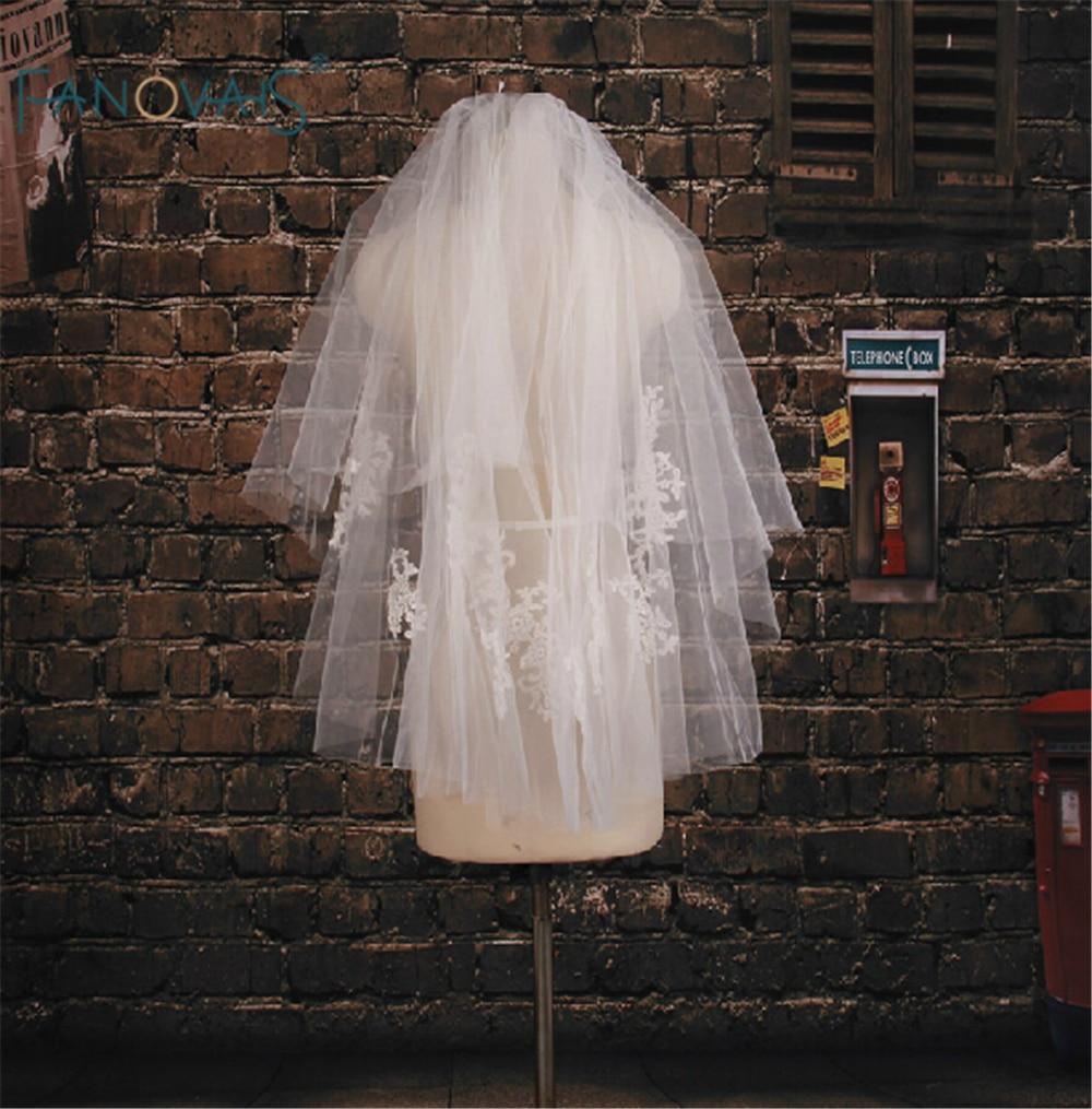 2015 Sale Wedding Veils Appliqued Multi-Layers Bridal Veils short Velos De Novia White Wedding Veil WV-1008
