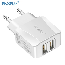 RAXFLY Dual USB Travel Charger For iPhone Samsung Hard Plastic Huawei Xiaomi Phone Totel 2.1A Chargers Fast Charging