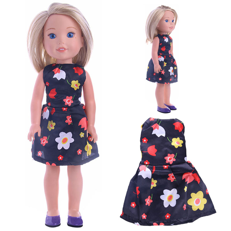 Doll Clothes Best Sweet Gift Flowers Print Dress For 14.5 Inch Wellie Wisher For Generation Toy