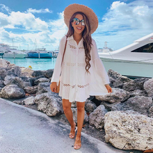2019 New Summer Beach Patchwork Lace Loose White Dress Turn down collar Shirt Dresses