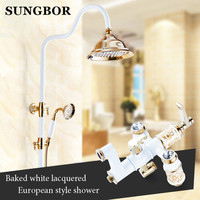 Free Shipping Polished Golden Grilled White Paint Shower Bathtub Faucet Set Wall Mounted Bathroom Rainfall Shower
