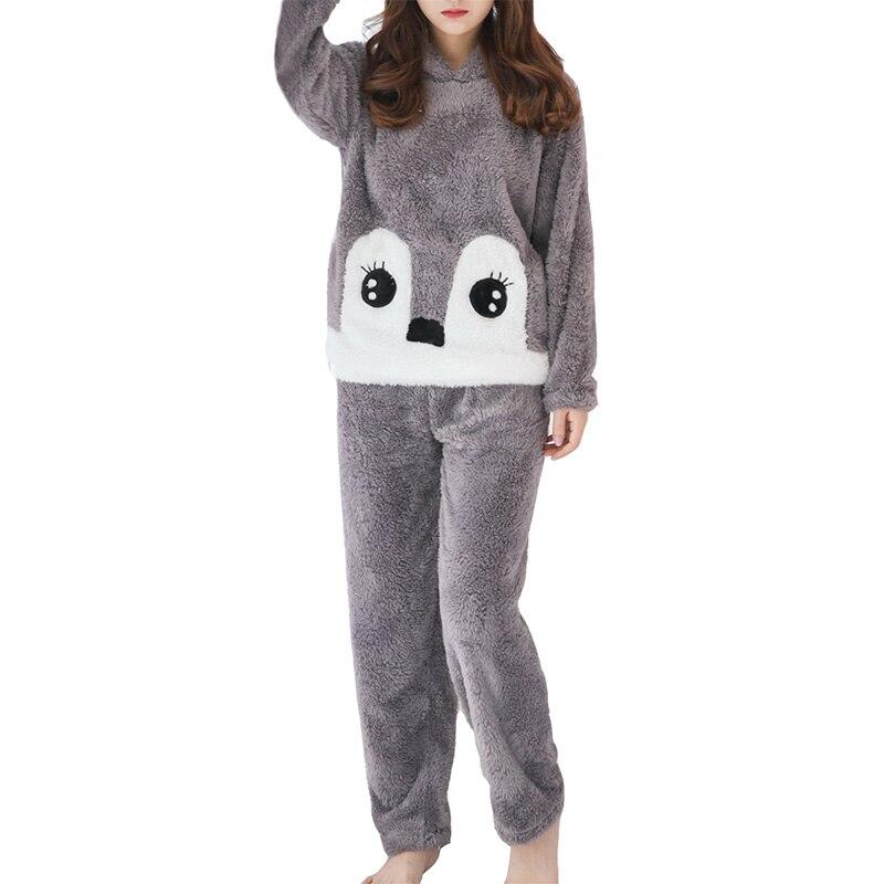 Women's Home Suit Cute Cartoon Pattern Ear Decor Hooded Long Sleeve Sweet Pajama Set