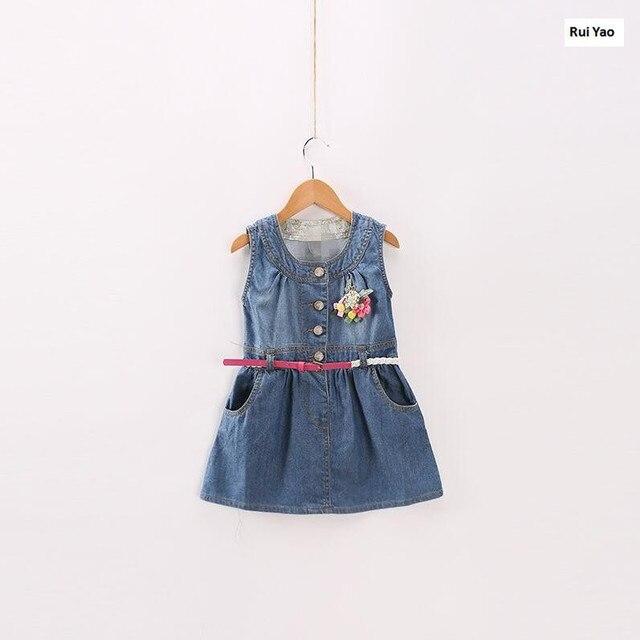fe51e3d7c2fb84 Y31360742 Fashion Baby Jurk Meisje Jurk Zomer Denim Bloem Kids dersses voor Meisjes  Jurk prinses Baby