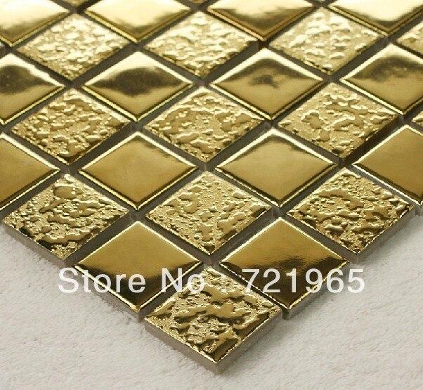 Gold Porcelain Tiles Bathroom Wall Backsplash Glazed: Golden Metal Glazed Ceramic Wall Tile Kitchen Backsplash