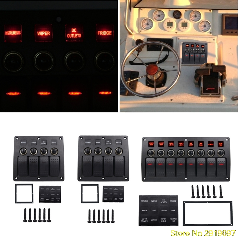 New High quality 4 6 8 Gang Red LED Waterproof Rocker Panel Switch w/Lens For Marine Boat 12-24V Drop Shipping Support