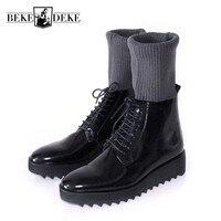 Рабочая обувь черного цвета ручной работы в Европейском стиле, на толстой подошве, на шнуровке, кожаные мужские ботинки, высокие носки, Ново