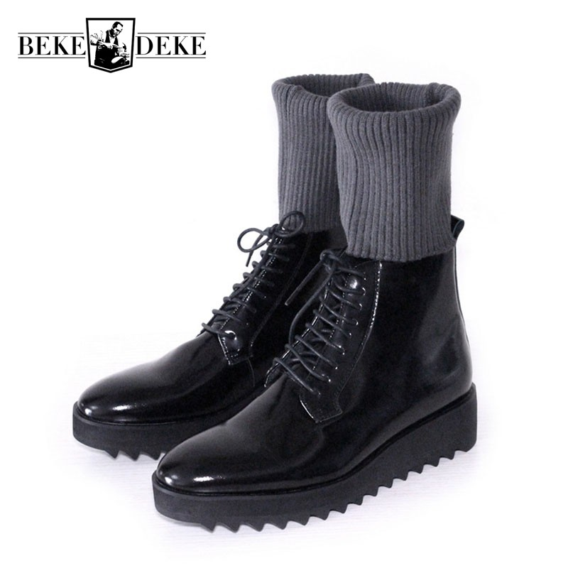Work Safety Shoes Black Handmade European Thick Bottom Lace Up Leather Mens Boots High Top Socks Boots New Arrival Male FootwearWork Safety Shoes Black Handmade European Thick Bottom Lace Up Leather Mens Boots High Top Socks Boots New Arrival Male Footwear