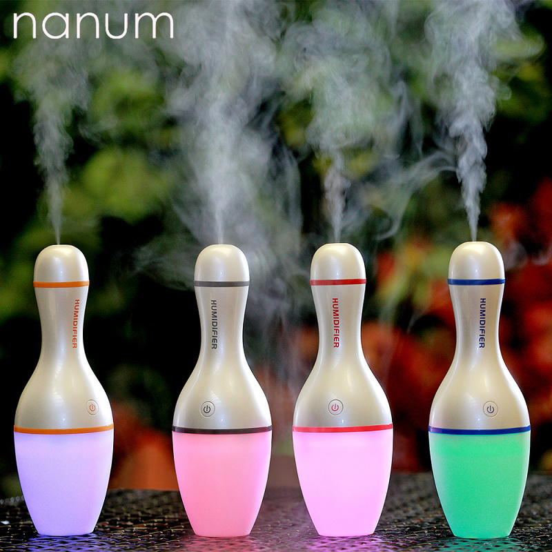 Car Humidifier USB Bowling Bottle Led Lamp Essential Oil Diffuser Mist Maker Aromatherapy Ultrasonic Diffuse Car air freshener