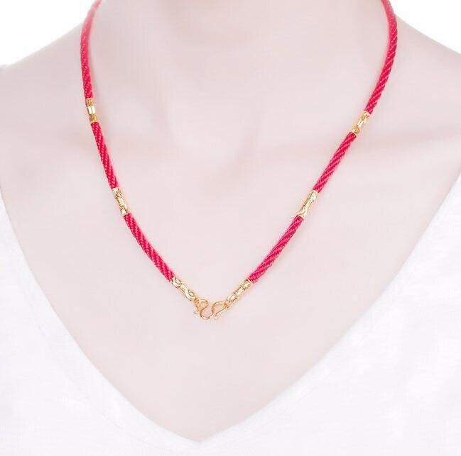 d9a407252ba8 Venta caliente auténtica 999 24 K oro amarillo Cuentas rojo cadena collar  3.0g