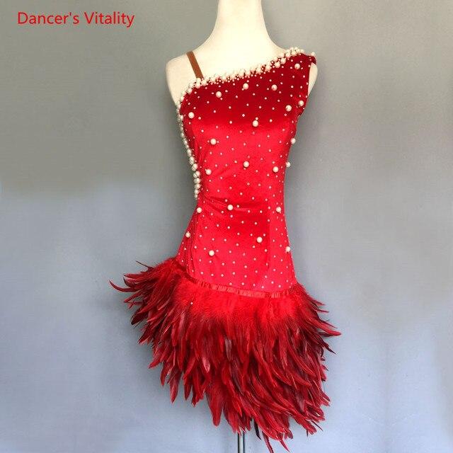 יוקרה פניני נוצת שמלת נשים/בנות ריקוד לטיני ביצועי בגדים למבוגרים ילדים סלוניים ריקוד תחרות תלבושות