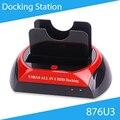 """[Бесплатная Доставка] 876U3 USB3.0 Все в 1 2.5 """"/3.5"""" Двойной SATA HDD Док-Станция Высокого качество"""