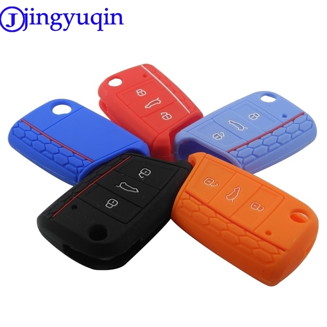 jingyuqin 3 Button Silicone Key Fob Cover Case For VW Polo 2016 Golf 7 MK7 For Skoda Octavia Combi A7 For SEAT Leon Ibiza CUPTRA