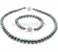 Jewelry 00741 LOT Freshwater Pearl necklace bracelet Set (Black, White, Lavender) (A0423)