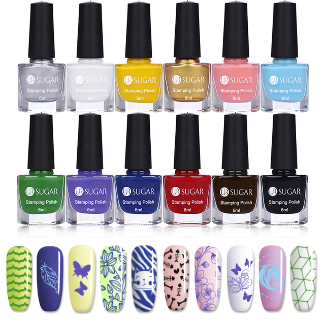 UR SUGAR 6ml Stamping Polish for Nail Art Plate Colorful Printing Gel Polish Nail Polish Lacquer Varnish 12 Colors