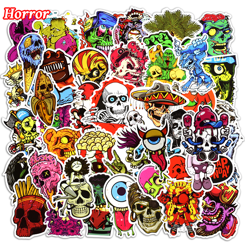 New 50 Pcs Mixed Funny Horror Stickers for Laptop Phone Skateboard Luggage Car Styling Graffiti Decals Cool DIY StickerNew 50 Pcs Mixed Funny Horror Stickers for Laptop Phone Skateboard Luggage Car Styling Graffiti Decals Cool DIY Sticker