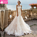 Fashionable Lace Mermaid Wedding Dress 2017 Vestido De Casamento See Through Back Vintage Wedding Gowns MTOB1730