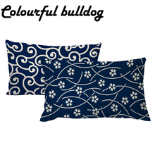 Wholesale Dark Blue Folk-custom Line Geometry Waist Cushion Cover 30*50CM Rectangle Striped Wave Flower Pillowcase Decorate Home