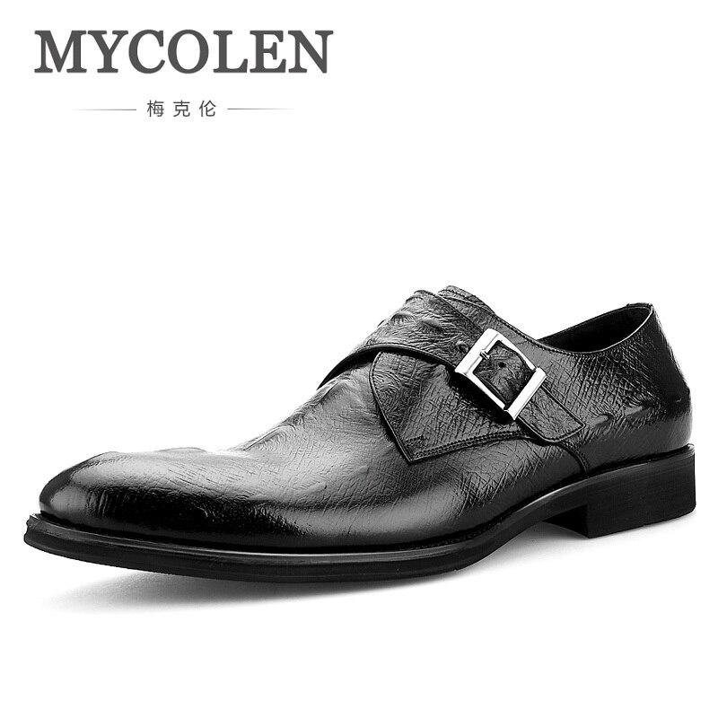 MYCOLEN hommes unique moine sangle chaussures en cuir véritable robe chaussures bout pointu Social hommes chaussures Tan en cuir chaussures de mariage Sapatos