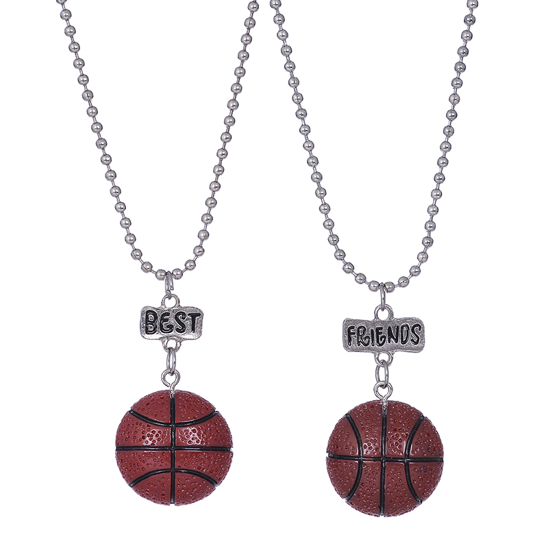 10sets/lot 2pcs/set New style BFF child necklace Resin Soccer Basketball Baseball Volleyball Golf pendant necklace