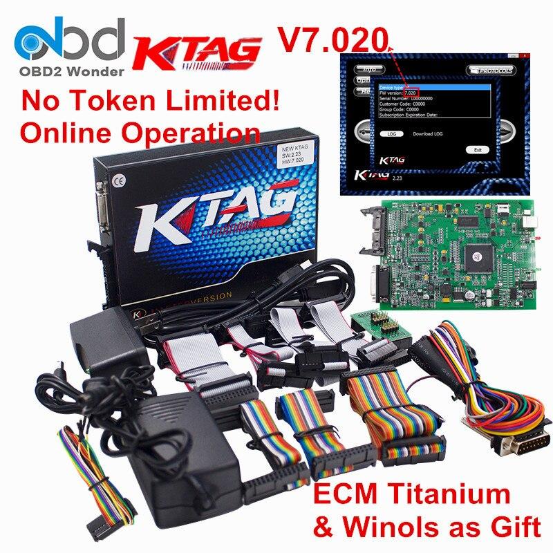 Цена за 2017 KTAG программирования ECU мастер версия Аппаратные средства 7.020 К тег 100% без маркер Limited K-TAG V7.020 Бесплатная ECM Титан и winols