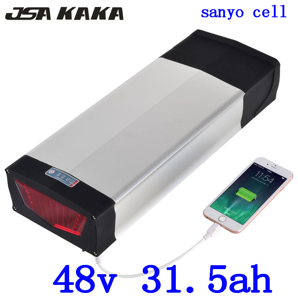 48v 30ah scooter battery 48V 31AH Lithium battery 48V 1000W 1500W 2000W electric bike battery use sanyo cell with+54.6V charger