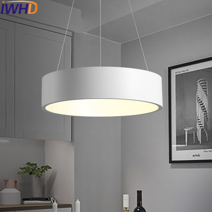 IWHD Iron Round Suspension Luminaire Moden Pendant Lights LED Hanging Lamp Kitchen Dining Restaurant Home Lighting Fixtures iwhd led pendant light modern creative glass bedroom hanging lamp dining room suspension luminaire home lighting fixtures lustre