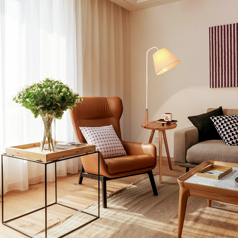 Simple Modern Nordic Creative Solid Wood Fabric Floor Lamp With Coffee Table For Living Room Bedroom H 140cm 80-265v 2065