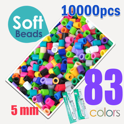 Soft 5mm hama beads 83 colors 10000pcs (1 big template+5iron papers+2tweezers) fuse/perler beads diy educational toys craft
