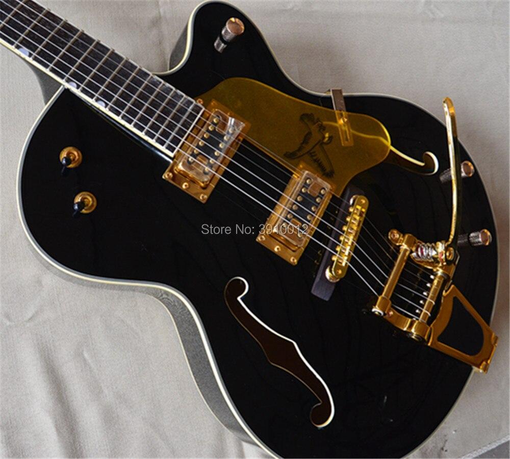 2018 usine guitare personnalisée noir Falcon 6120 Semi creux corps Jazz guitare électrique avec Bigsby Tremolo