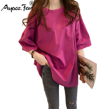 Candy Color Short Sleeve Loose T-Shirts Girls Summer 2019 New Cool O-Neck Boyfri