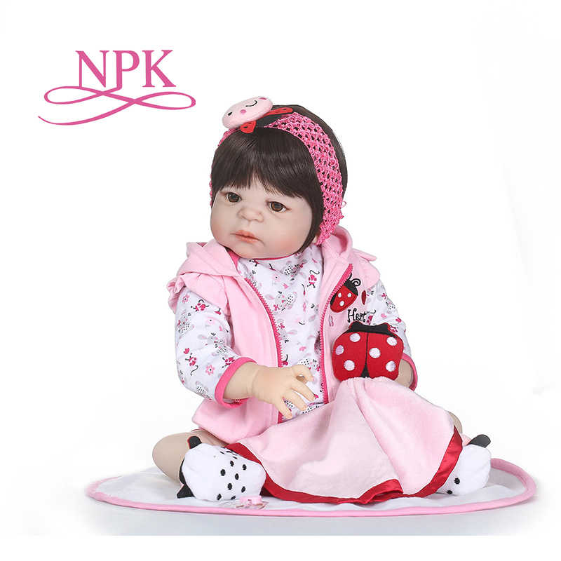NPK Newborn Baby Doll reborn 56CM Inch Reborn Baby girl Real Life Living Doll Toys Soft Silicone Open Eyes waterproof bath toy