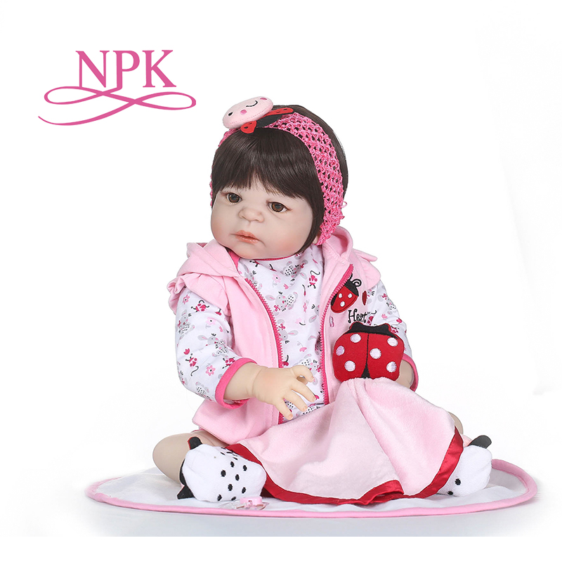 NPK bebé recién nacido muñeca reborn 56 CM pulgadas Reborn Baby girl vida Real muñeca juguetes de silicona suave ojos abiertos resistente al agua de juguete de baño-in Muñecas from Juguetes y pasatiempos    1