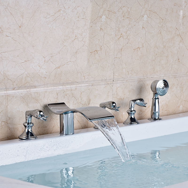 Chrome Brass Waterfall Bathroom Tub Faucet 5 pcs Tub Sink Mixer Tap Swan Handles waterfall spout chrome brass bathroom tub faucet 3 pcs sink mixer tap