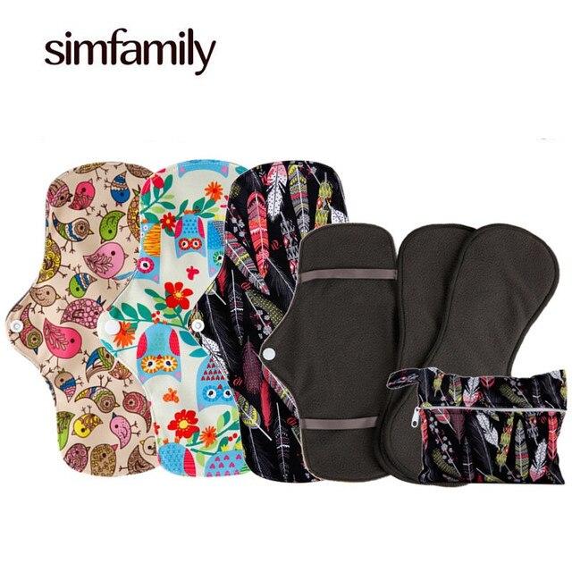 afa9b28d2ce9  Simfamily  3 комплекта многоразовые Водонепроницаемый регулярные поток  менструального ткань гигиенические прокладки комплект + 1