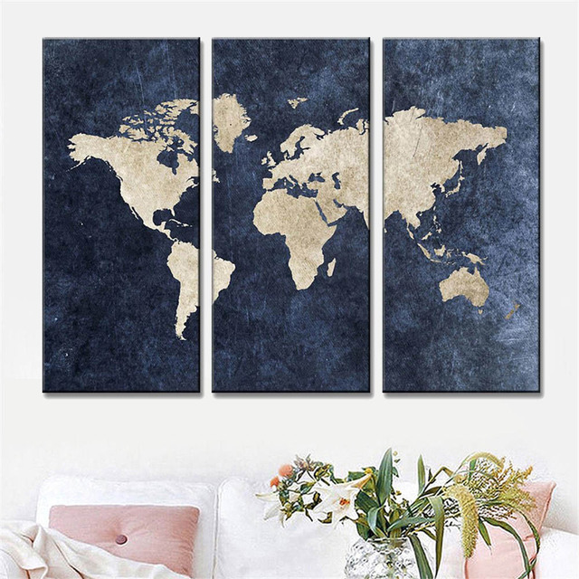 3 Pcs Set Abstract Navy Blue World Map Canvas Print Painting Modern
