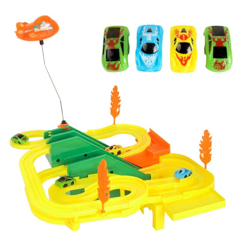 1set mini diy assemble race track with car kids handwork racing lighting music sound car game