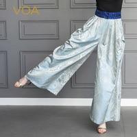 VOA шелк жаккард Широкие штаны Для женщин длинные брюки плюс Размеры 5XL свободные Macarons озеро синий сладкий Повседневное Карманы весна k552